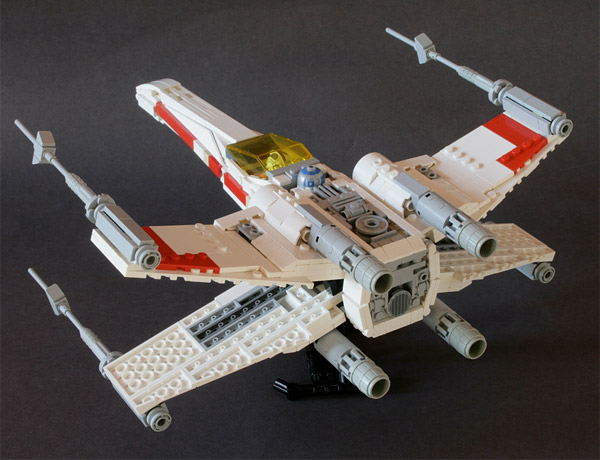 Awesome LEGO X-Wing Fighter: Red Brick Five Standing by - Technabob