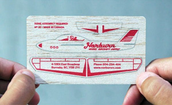 For a company called norburn who wait for it makes model aircraft in case you are missing the obvious this balsa wood business card can be