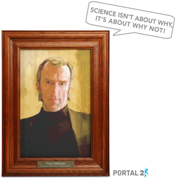 portal 2 cave johnson portrait by thinkgeek