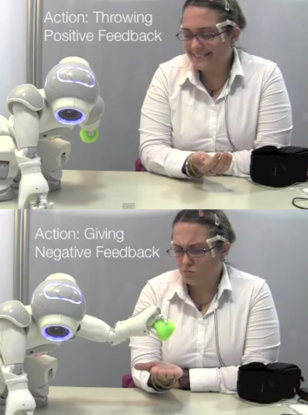robot smile frown feedback