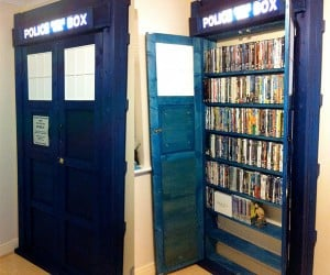 TARDIS DVD Bookcase Transports You to Any Place (in Your Movie Collection)