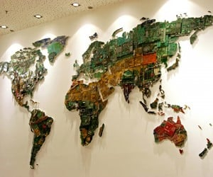 World Map Made of Computer Components: Mother Earth Motherboards