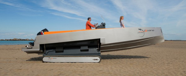 iguana yachts amphibious water land boat treads integrated