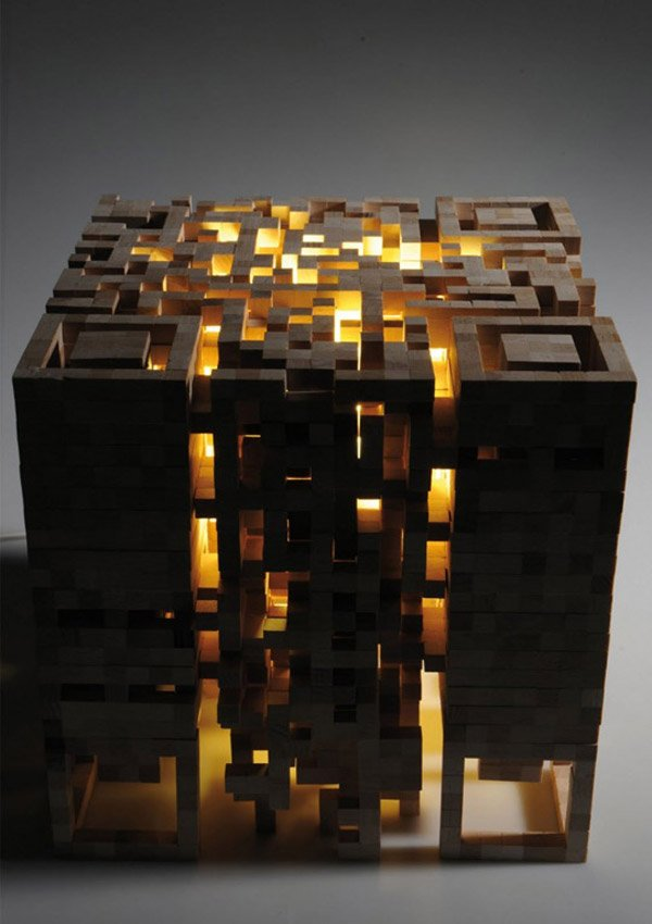 qr code smartphone stool mood light design elena belmann