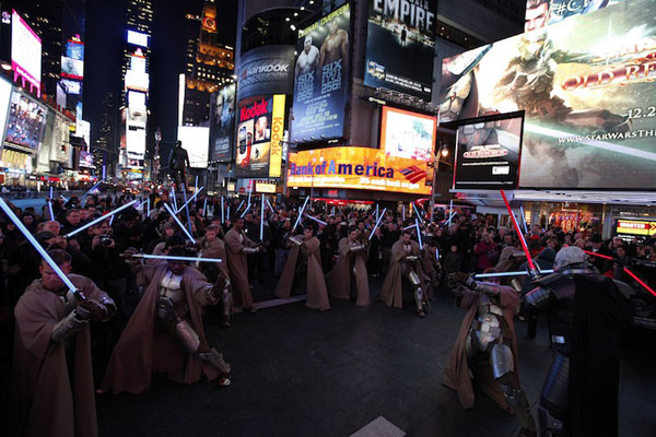 star wars bioware jedi sith flash mob battle times square knights of the old republic