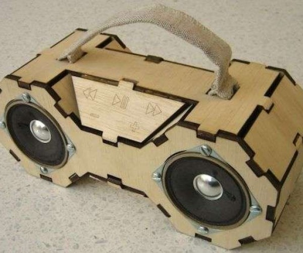Plywood Boombox Looks Like a TIE Fighter