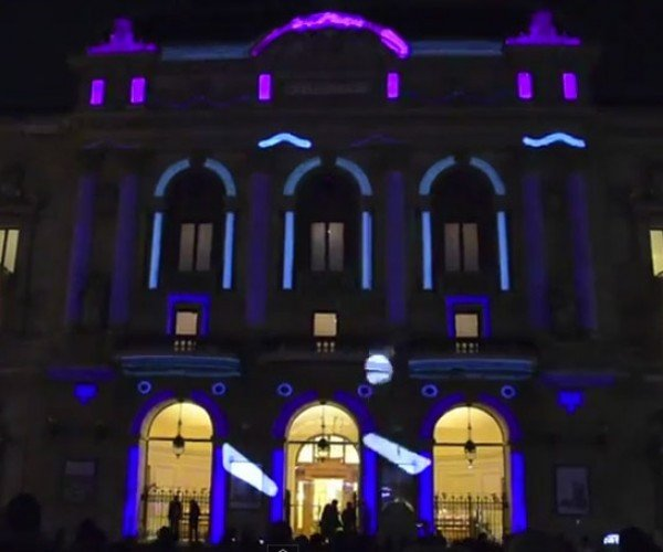 Giant Playable Pinball Game Projected Onto Building
