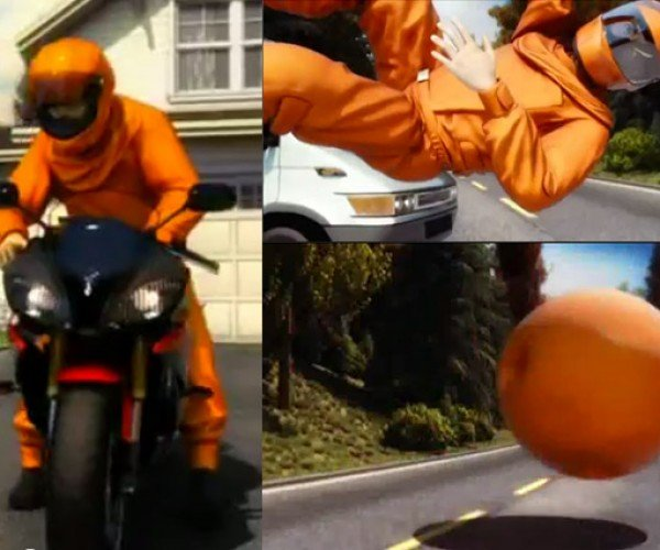 Safety Sphere Motorcycle Airbag Suit Turns You into a Giant Orange