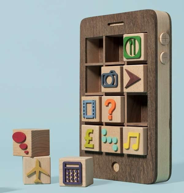 wooden iphone toy