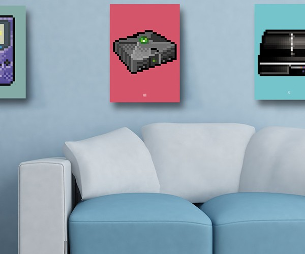 8 bit series video game console posters by biscotto cotto 8