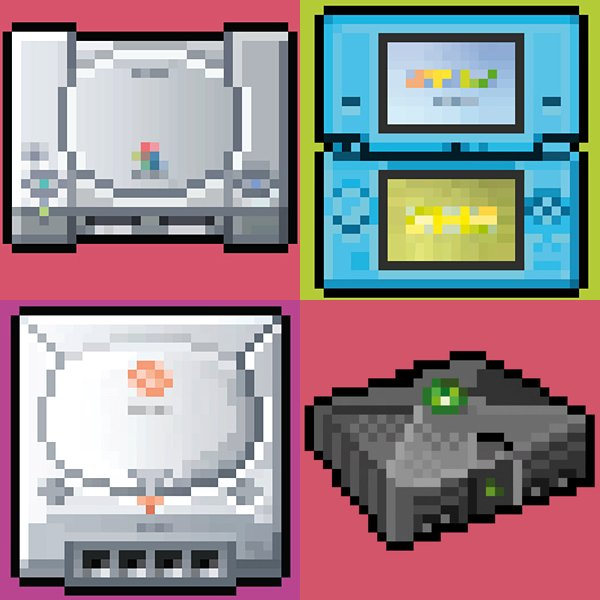 8 bit series video game console posters by biscotto cotto