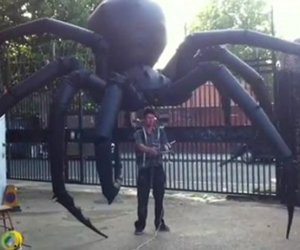 Giant Inflatable Spider Puppet Requires Crop Dusting with Raid