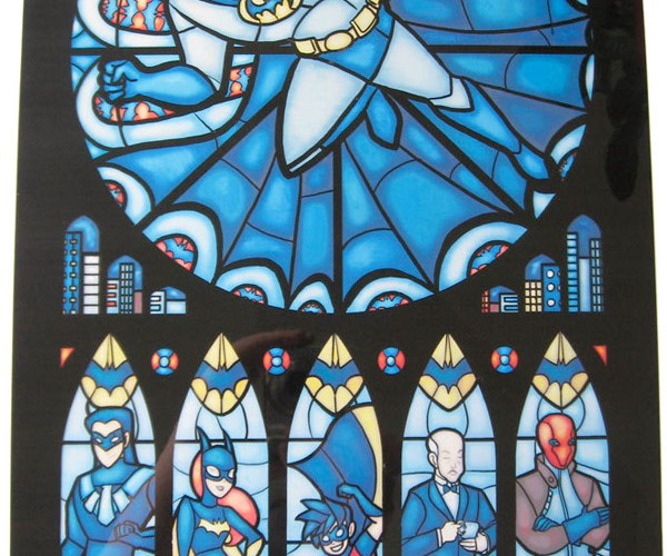 Transparent Stained Glass Prints Hang in the Church of Geek