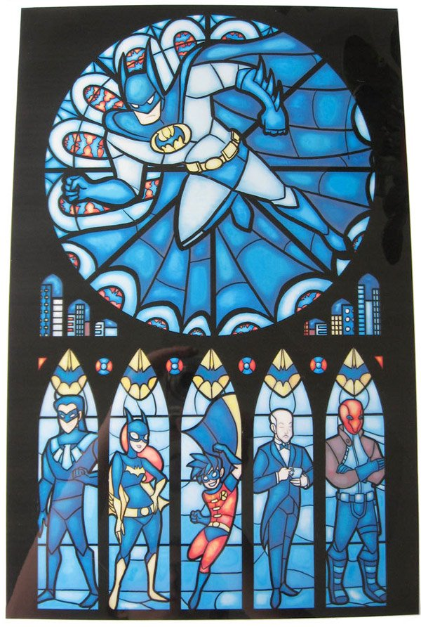 batman stained glass print