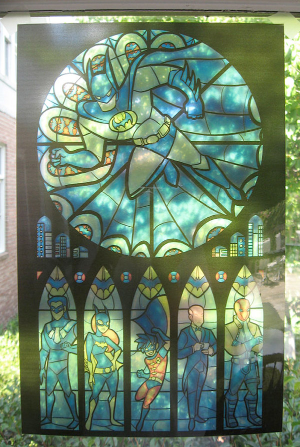 batman stained glass print in window