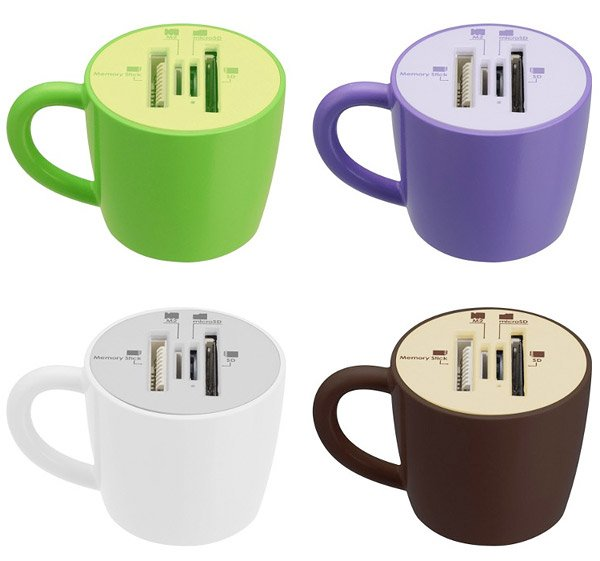 coffee cup memory card readers