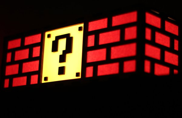 mario question block lamp by the back pack shoppe