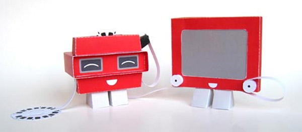 papercraft viewmaster etch a sketch