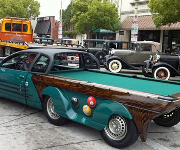 Car Doubles as a Regulation Pool Table: 9 Ball, Corner Fender