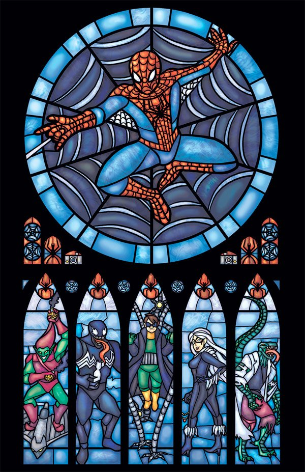 spider man stained glass print