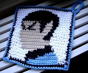 Crocheted Spock Holders, Burns Are Illogical