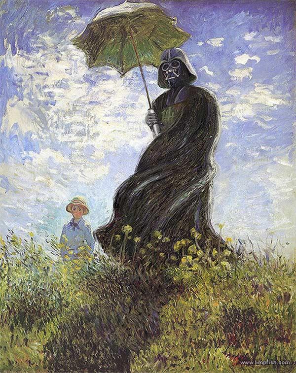 darth vader woman with parasol claude monet david barton