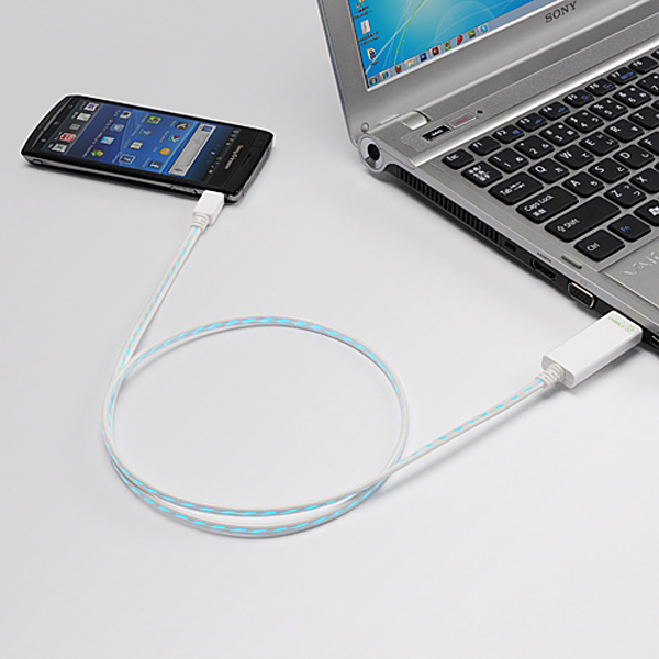 dexim visible usb cable with led
