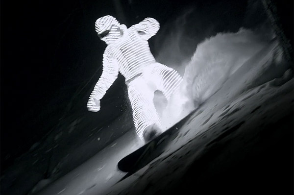 Glowing LED Snowboarder Lights Up Like a Christmas Tree