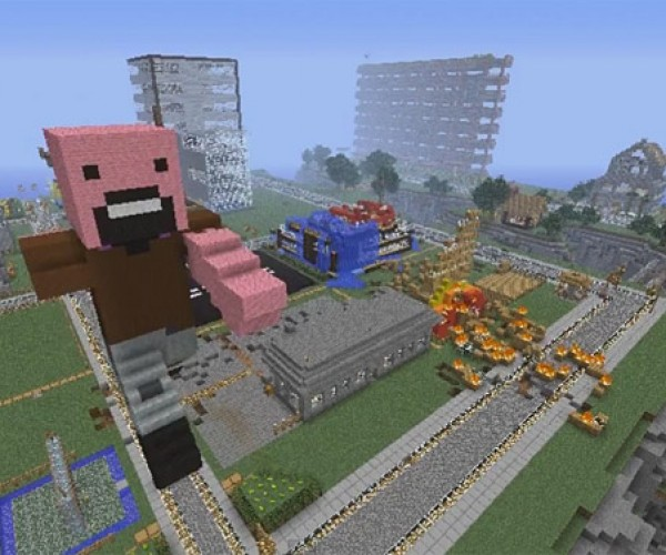 Minecraft Stop Motion: Notch Giveth Blocks, and Notchzilla Taketh Blocks Away
