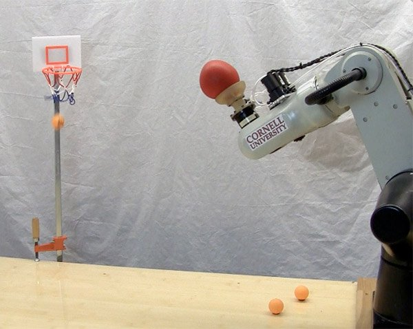 robot plays basketball