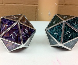 Stained Glass d20 Dice: Lose 100 HP If You Break 'Em