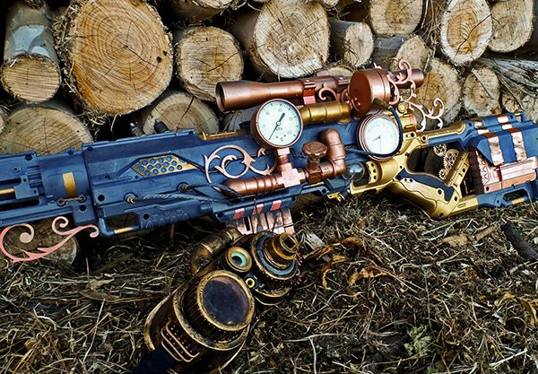 steampunk nerf rifle by vanbangerburger