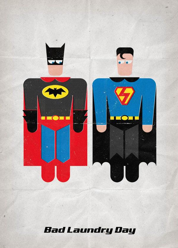 super hero bad laundry day flash batman superman catwoman wonderwoman