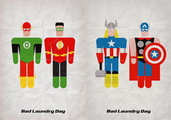 super hero bad laundry day flash batman superman catwoman wonderwoman