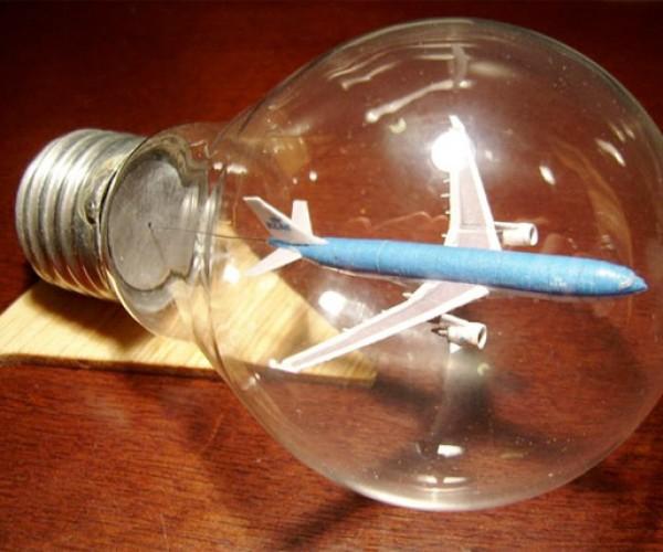 Tiny Airplane Lands Inside a Lightbulb