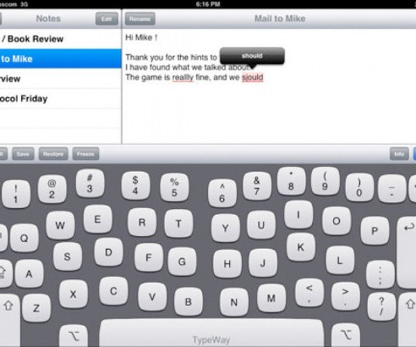 TypeWay App for iPad Adapts the Keyboard to Your Typing Style
