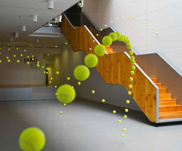 2,000 Tennis Balls Bounce Through Art Gallery in Spain