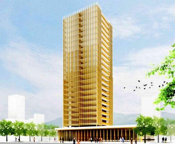 30-stody Wooden Building