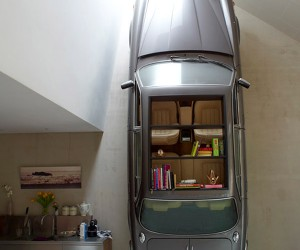 Car Bookshelf Has Books for Passengers Instead of People