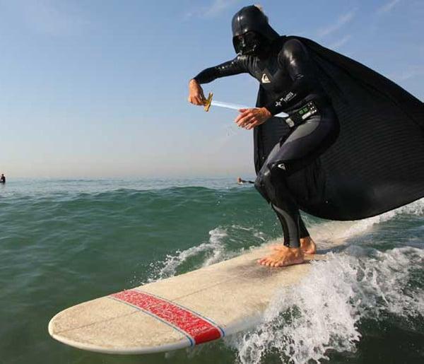 darth vader star wars surfing