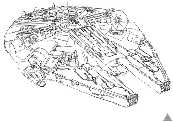 sam hallows continuous star wars line millennium falcon