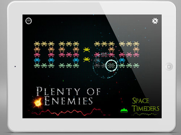 space-timeders-ipad iphone clock app game space invaders