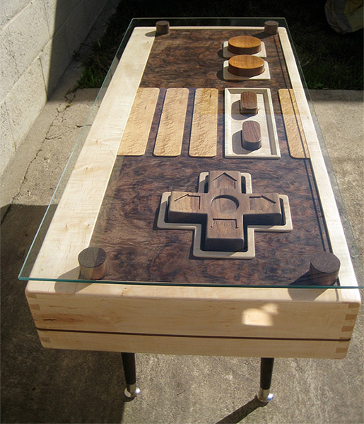 nes controller coffee table really plays games. Black Bedroom Furniture Sets. Home Design Ideas