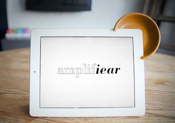 Amplifiear acoustic ipad speaker front kickstarter