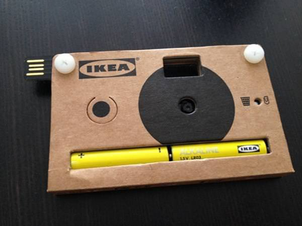 ikea mini camera cardboard disposable usb press kit