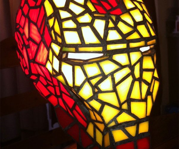 Stained Glass Iron Man Helmet Lamp: Tony Stark Shines Brightly