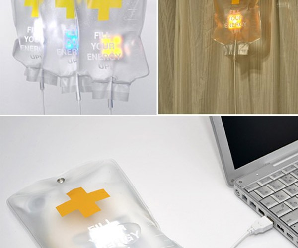 IV Drip Bag USB Lamp Filled With Light, Not Drugs