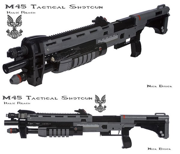 lego m45 tactical shotgun from halo reach has working pump action