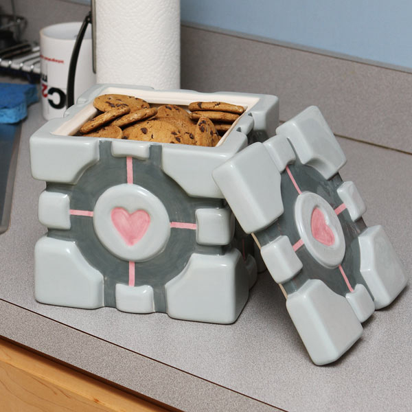 portal companion cube cookie jar 2