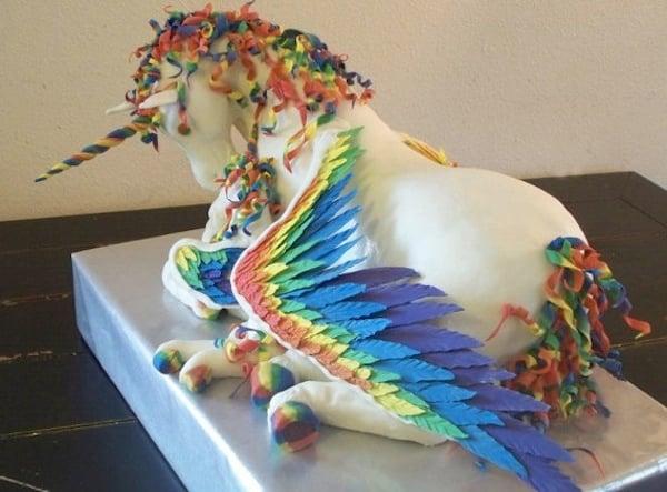 flying rainbow unicorn cake